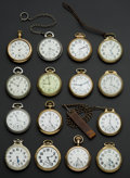 Timepieces:Pocket (post 1900), A Lot Of Fifteen American Pocket Watches Including Three 23 JewelsTwo 950 All Railway Grade . ... (Total: 15 Items)