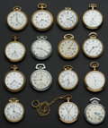 Timepieces:Pocket (post 1900), A Lot Of Fifteen 16 Size Pocket Watches One Waltham Is 25 Jewel. ... (Total: 15 Items)