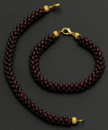 Estate Jewelry:Bracelets, Two Rhodolite Garnet Three Strand Bracelets. ... (Total: 2 Items)