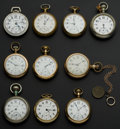 Timepieces:Pocket (post 1900), A Lot Of Ten 18 Size Railroad Grade Pocket Watches One 23 Jewel Railway & Veritas. ... (Total: 10 Items)