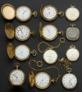 Timepieces:Pocket (post 1900), A Lot Of Twelve Pocket Watches Seven Hunter's & Five 12 SizeOpen Face. ... (Total: 12 Items)
