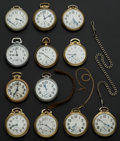 Timepieces:Pocket (post 1900), A Lot Of Twelve Railroad Grade Pocket Watches One 23 Jewel Vanguard. ... (Total: 12 Items)