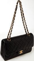 Luxury Accessories:Bags, Heritage Vintage: Chanel Classic Black Lambskin LeatherDouble Flap Bag. ...