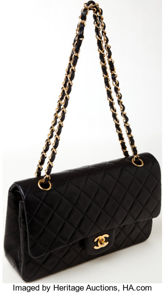 3fe85541fbda Luxury Accessories:Bags, Heritage Vintage: Chanel Classic Black Lambskin  LeatherDouble Flap Bag.