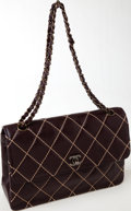 Luxury Accessories:Bags, Heritage Vintage: Chanel Brown Lambskin Leather Single Flap Bag with Contrast Stitching and Black Hardware. ...