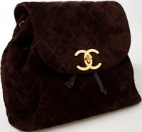 Heritage Vintage: Chanel Brown Suede Quilted Backpack with Gold Hardware