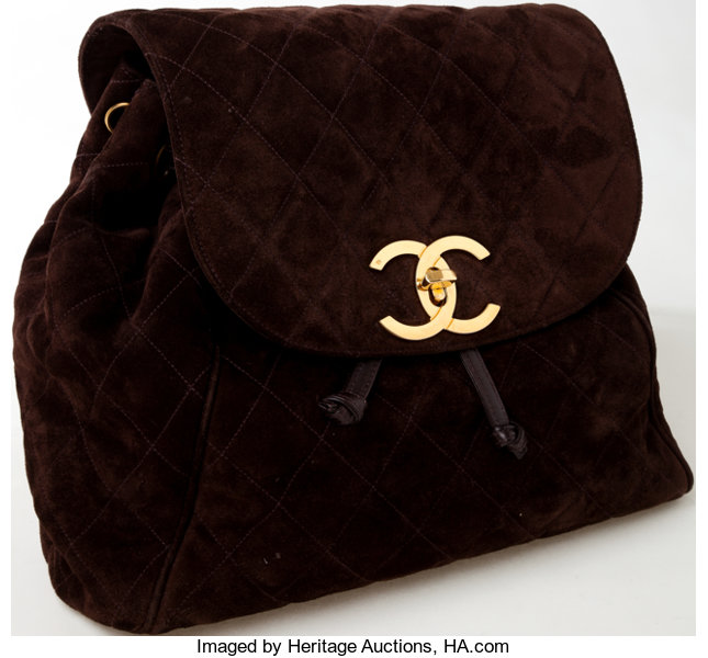cecc41031f32 Heritage Vintage  Chanel Brown Suede Quilted Backpack with Gold ...