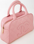 Luxury Accessories:Bags, Heritage Vintage: Chanel Pink Quilted Caviar Leather SmallBowling Bag with Gold Hardware. ...