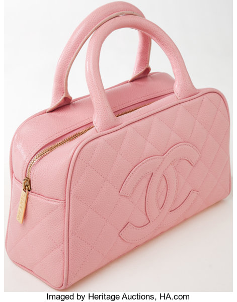 c2bf36b19a5f42 ... Luxury Accessories:Bags, Heritage Vintage: Chanel Pink Quilted Caviar  Leather SmallBowling Bag with ...