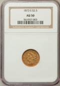 Liberty Quarter Eagles: , 1873-S $2 1/2 AU50 NGC. NGC Census: (24/124). PCGS Population(22/48). Mintage: 27,000. Numismedia Wsl. Price for problem f...