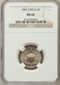 Shield Nickels: , 1883 5C MS66 NGC. NGC Census: (90/16). PCGS Population (108/9).Mintage: 1,456,919. Numismedia Wsl. Price for problem free ...
