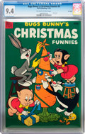Golden Age (1938-1955):Cartoon Character, Dell Giant Comics: Bugs Bunny Christmas Funnies #4 File Copy (Dell, 1953) CGC NM 9.4 Off-white to white pages....