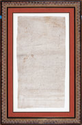 "Prints, NOTARIZED TRANSACTION BETWEEN A WOMAN AND ""SARACENS"" . Spain, 13thcentury. 30 x 16 inches (76.2 x 40.6 cm). Notarized Manus..."