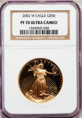 Modern Bullion Coins, 2002-W G$50 One-Ounce Gold Eagle PR70 Ultra Cameo NGC. NGC Census:(609). PCGS Population (153). Numismedia Wsl. Price for...
