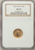 Modern Bullion Coins, 2004 G$5 Tenth-Ounce Gold Eagle MS70 NGC. NGC Census: (3700). PCGSPopulation (240). Numismedia Wsl. Price for problem fre...