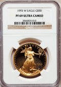 Modern Bullion Coins: , 1993-W G$50 One-Ounce Gold Eagle PR69 Ultra Cameo NGC. NGC Census:(1022/324). PCGS Population (1747/77). Mintage: 34,389. ...