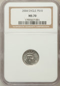 Modern Bullion Coins, 2004 P$10 Tenth-Ounce Platinum Eagle MS70 NGC. NGC Census: (1167).PCGS Population (71). Numismedia Wsl. Price for problem...