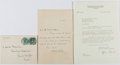 Autographs:Authors, Henry Austin Dobson (1840-1921, British Poet and Essayist). Autograph Letter Signed. Includes envelope and Marshall Field Bo...