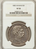 Coins of Hawaii: , 1883 $1 Hawaii Dollar VF35 NGC. NGC Census: (18/288). PCGSPopulation (45/534). Mintage: 500,000. (#10995)...