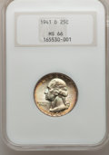 Washington Quarters: , 1941-D 25C MS66 NGC. NGC Census: (272/98). PCGS Population(305/20). Mintage: 16,714,800. Numismedia Wsl. Price for problem...