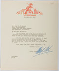 Autographs:Authors, Percy Crosby (1891-1964, American Writer and Illustrator). Typed Letter Signed. Very good....