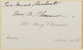 Autographs:Authors, Mary Clemmer (1839-1884, American Writer). Signed Card. Very good....