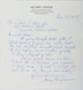 Autographs:Authors, Mary I. Chapman (1895-?, American Writer). Autograph Letter Signed. Very good....