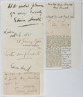 Autographs:Authors, Edwin Arnold (1832-1904, British Poet and Journalist). Group ofClipped Signatures. Mounted to paper. Very good....