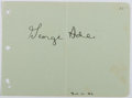 Autographs:Authors, George Ade (1866-1944, American Writer). Signature on Paper. Very good....