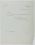 Autographs:Authors, Maurice Baring (1874-1945, British Writer). Typed Letter Signed. Very good....