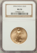 Modern Bullion Coins, 2004 G$25 Half-Ounce Gold Eagle MS70 NGC. NGC Census: (2598). PCGSPopulation (873). Numismedia Wsl. Price for problem fre...