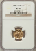 Modern Bullion Coins: , 1998 G$5 Tenth-Ounce Gold Eagle MS70 NGC. NGC Census: (1674). PCGSPopulation (119). Numismedia Wsl. Price for problem fre...