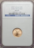 Modern Bullion Coins, 2007 $5 Tenth-Ounce Gold Eagle Early Releases MS69 NGC. PCGSPopulation (1274/89). (#146910)...