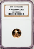 Modern Bullion Coins, 2005-W G$5 Tenth-Ounce Gold Eagle PR70 Ultra Cameo NGC. NGC Census:(1591). PCGS Population (297). Numismedia Wsl. Price f...