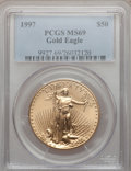 Modern Bullion Coins, 1997 G$50 One-Ounce Gold Eagle MS69 PCGS. PCGS Population (968/18).NGC Census: (779/56). Mintage: 664,508. Numismedia Wsl....