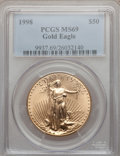 Modern Bullion Coins, 1998 G$50 One-Ounce Gold Eagle MS69 PCGS. PCGS Population(1696/73). NGC Census: (1316/118). Numismedia Wsl. Price for pro...