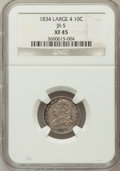 Bust Dimes: , 1834 10C Large 4 XF45 NGC. JR-5. NGC Census: (0/2). PCGS Population(28/107). (#4526)...
