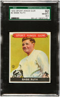 Baseball Cards:Singles (1930-1939), 1933 Sport Kings Babe Ruth #2 SGC 92 NM/MT+ 8.5....