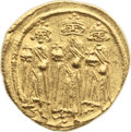Ancients:Byzantine, Ancients: Heraclius, with Heraclius Constantine and Heraclonas (AD610-641). AV solidus (21mm, 4.50 gm, 6h)....
