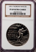 Modern Issues: , 1991-P $1 Korean War Silver Dollar PR69 Ultra Cameo NGC. NGCCensus: (2323/33). PCGS Population (2142/37). Mintage: 618,488...