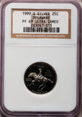 Proof Statehood Quarters: , 1999-S 25C Delaware Silver PR69 Ultra Cameo NGC. NGC Census:(9650/418). PCGS Population (5466/79). Numismedia Wsl. Price ...