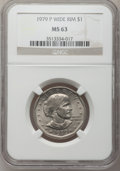 Susan B. Anthony Dollars, 1979-P SBA$ Wide Rim MS63 NGC. NGC Census: (71/1862). PCGSPopulation (111/1964). Mintage: 360...