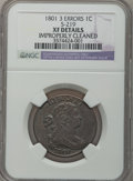 Large Cents, 1801 1C 3 Errors -- Improperly Cleaned -- NGC Details. XF. S-219,B-11, R.2....
