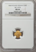 California Fractional Gold, 1868 50C Indian Round 50 Cents, BG-1074, R.6, MS64 NGC....