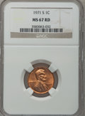 Lincoln Cents: , 1971-S 1C MS67 Red NGC. NGC Census: (52/0). PCGS Population (7/0).(#2947)...