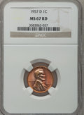 Lincoln Cents: , 1957-D 1C MS67 Red NGC. NGC Census: (106/0). PCGS Population(20/0). Mintage: 1,051,342,016. Numismedia Wsl. Price for prob...