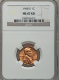 Lincoln Cents: , 1968-D 1C MS67 Red NGC. NGC Census: (30/0). PCGS Population (12/0).(#2908)...