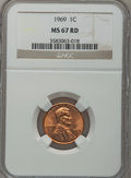 Lincoln Cents: , 1969 1C MS67 Red NGC. NGC Census: (34/0). PCGS Population (4/0).Numismedia Wsl. Price for problem free NGC/PCGS coin in M...
