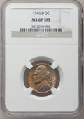 Jefferson Nickels: , 1946-D 5C MS67 Full Steps NGC. NGC Census: (10/0). PCGS Population(7/0). Numismedia Wsl. Price for problem free NGC/PCGS ...