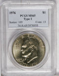 Eisenhower Dollars: , 1976 $1 Type One MS65 PCGS. PCGS Population (411/21). NGC Census: (111/14). Mintage: 4,019,000. Numismedia Wsl. Price: $140...